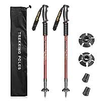 XJD トレッキングポール 2本セット ストック 登山 軽量 アルミ製 アンチショック コンパクト 3段伸縮 65~135cm 男女兼用 ウォーキングポール 付属品付 登山用品 (レッド, 135)