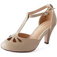 Guilty Heart | Womens Retro Tstrap Teardrop Cutout Mid Heel Sandal | Dress Party Comfortable Pump