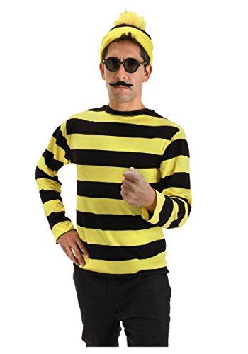 ウォーリー コスプレ オドロー 衣装 黄色 黒 ウォーリーを探せの悪役 オドローのコスチューム S/Mサイズ