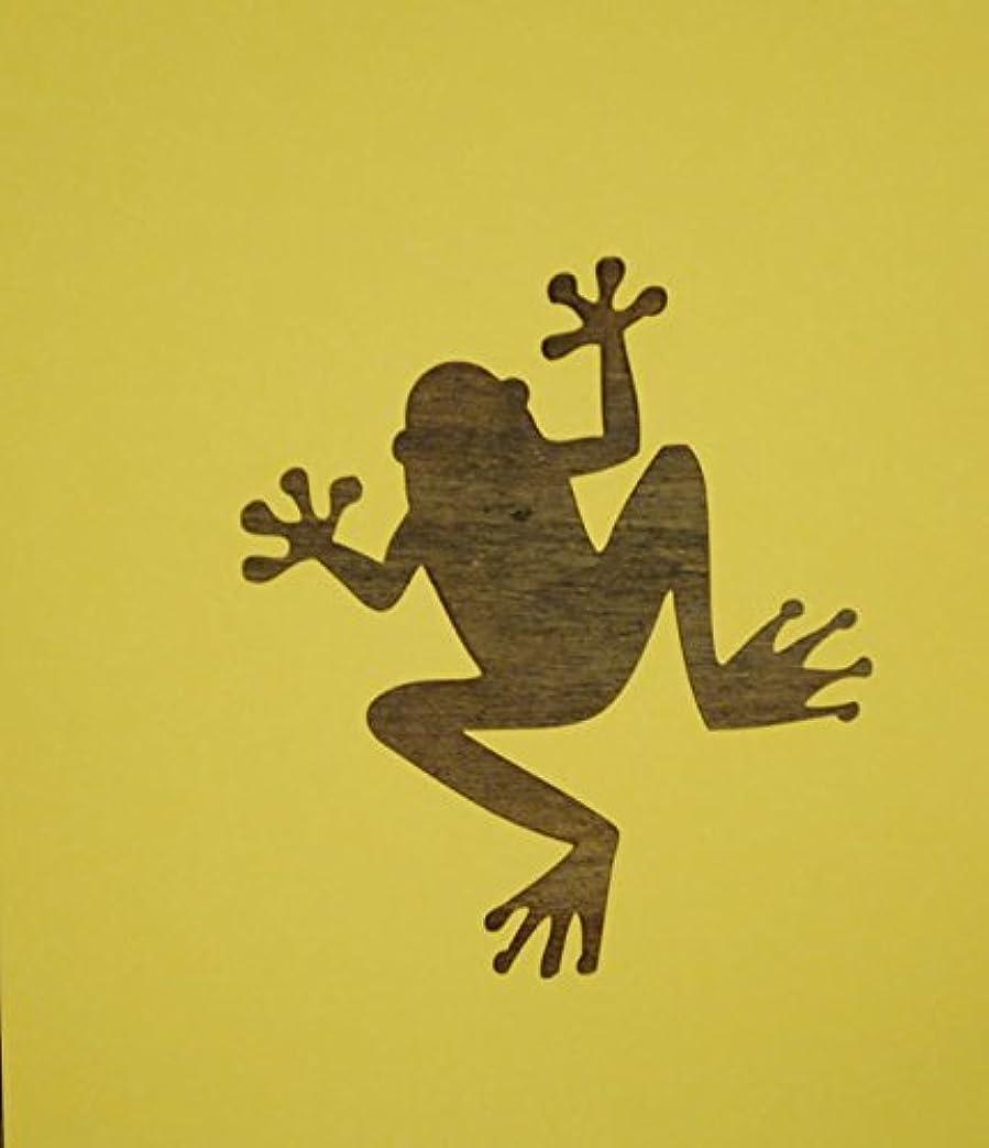 天窓見ました不純ワンポイント ステンシル 型紙 カエル 蛙 紙製 【3インチ】