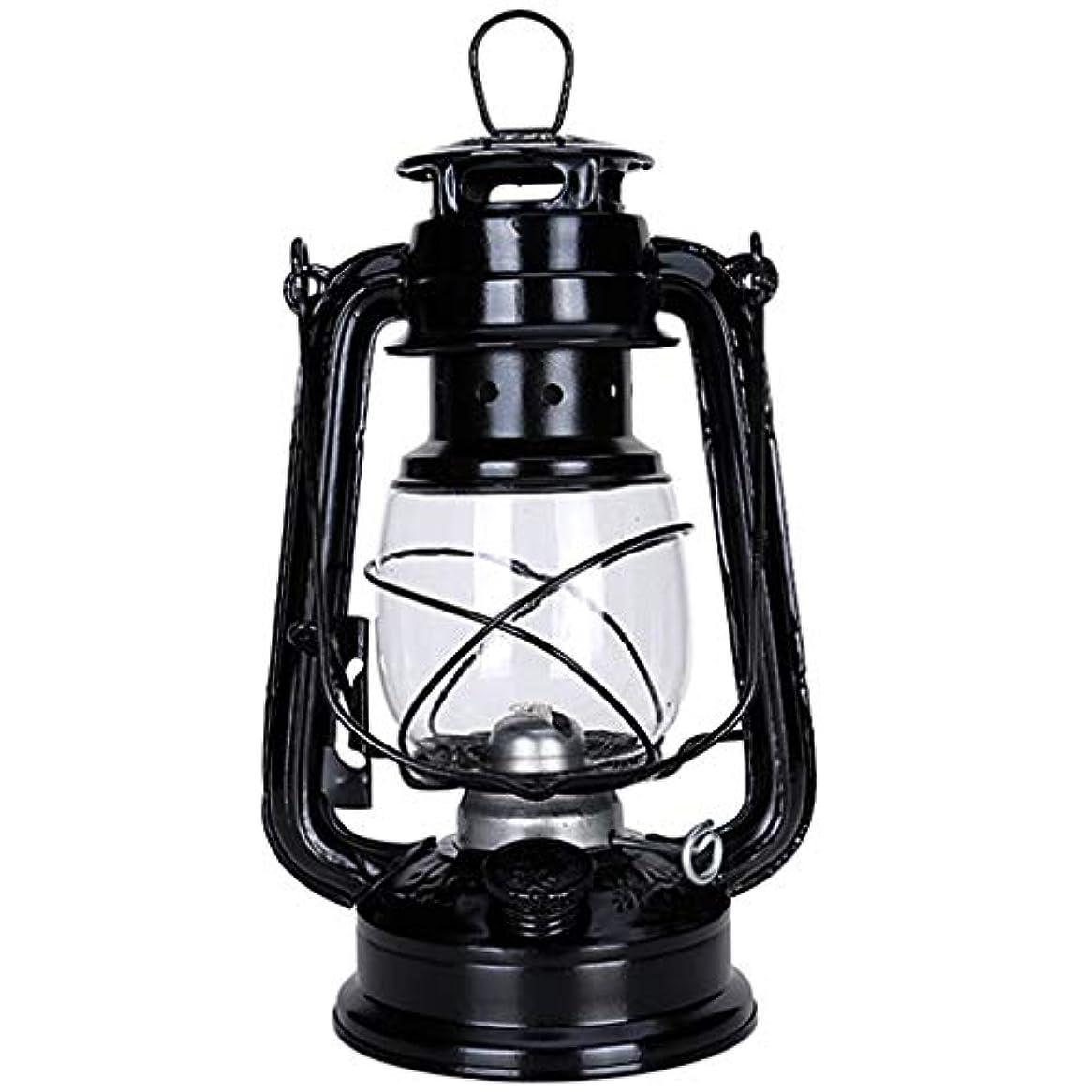 インタフェース赤字高度なヴィンテージ装飾ランプ/灯油ランプ、25cmガラス照明ランタン、リビングルーム、スタディ、ダイニングルーム、キャンプ用(ブラック)