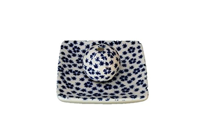 文明化するエキスパート大声で桜小紋 青 小角皿 お香立て 陶器 ACSWEBSHOPオリジナル