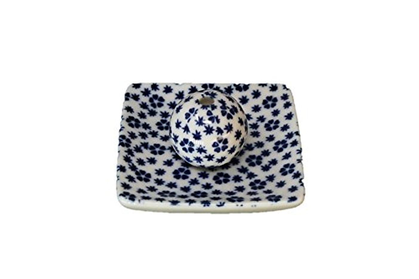 繁栄援助する会話型桜小紋 青 小角皿 お香立て 陶器 ACSWEBSHOPオリジナル