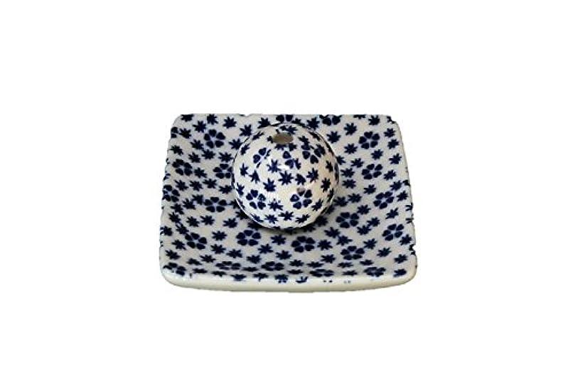 穏やかなエスカレーター収縮桜小紋 青 小角皿 お香立て 陶器 ACSWEBSHOPオリジナル