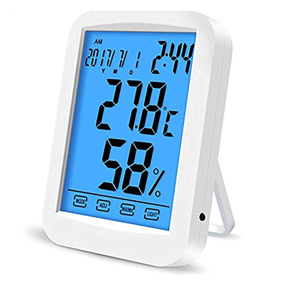 人工キャラバン専門用語デジタル湿度計、温室の庭のワインセラーのための高精度のABS物質的で調節可能な明るさのタッチ画面 - 無線気象の場所