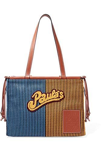 [(ロエベ) LOEWE] [スリット レザートリミング 織ラフィア トート バッグ Slit leather-trimmed woven raffia tote bag] (並行輸入品)