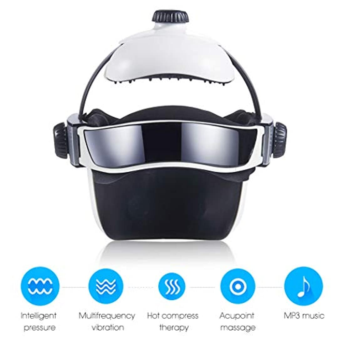 人物手錠排泄物熱空気圧縮振動フィンガープレスマッサージ、目、首マッサージ音楽なだめるリラックスヘルメットタイプの電動ヘッド