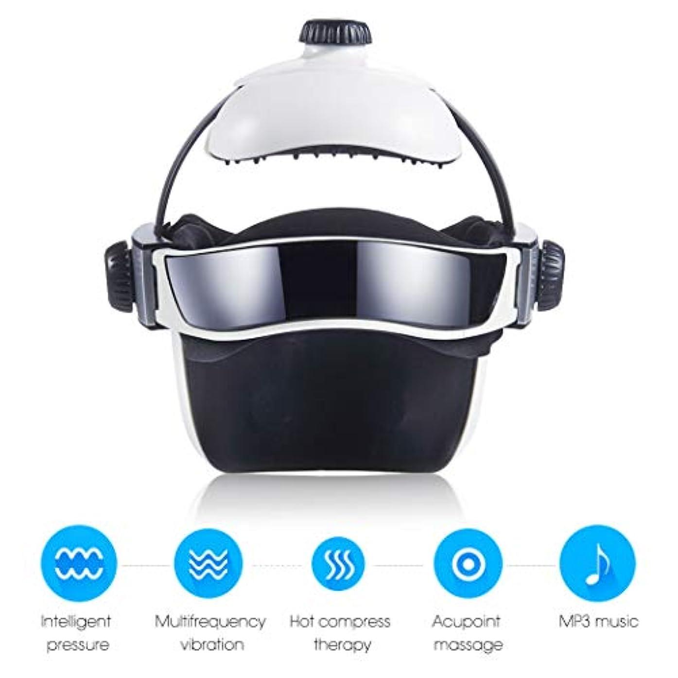 証言軽量人工熱空気圧縮振動フィンガープレスマッサージ、目、首マッサージ音楽なだめるリラックスヘルメットタイプの電動ヘッド