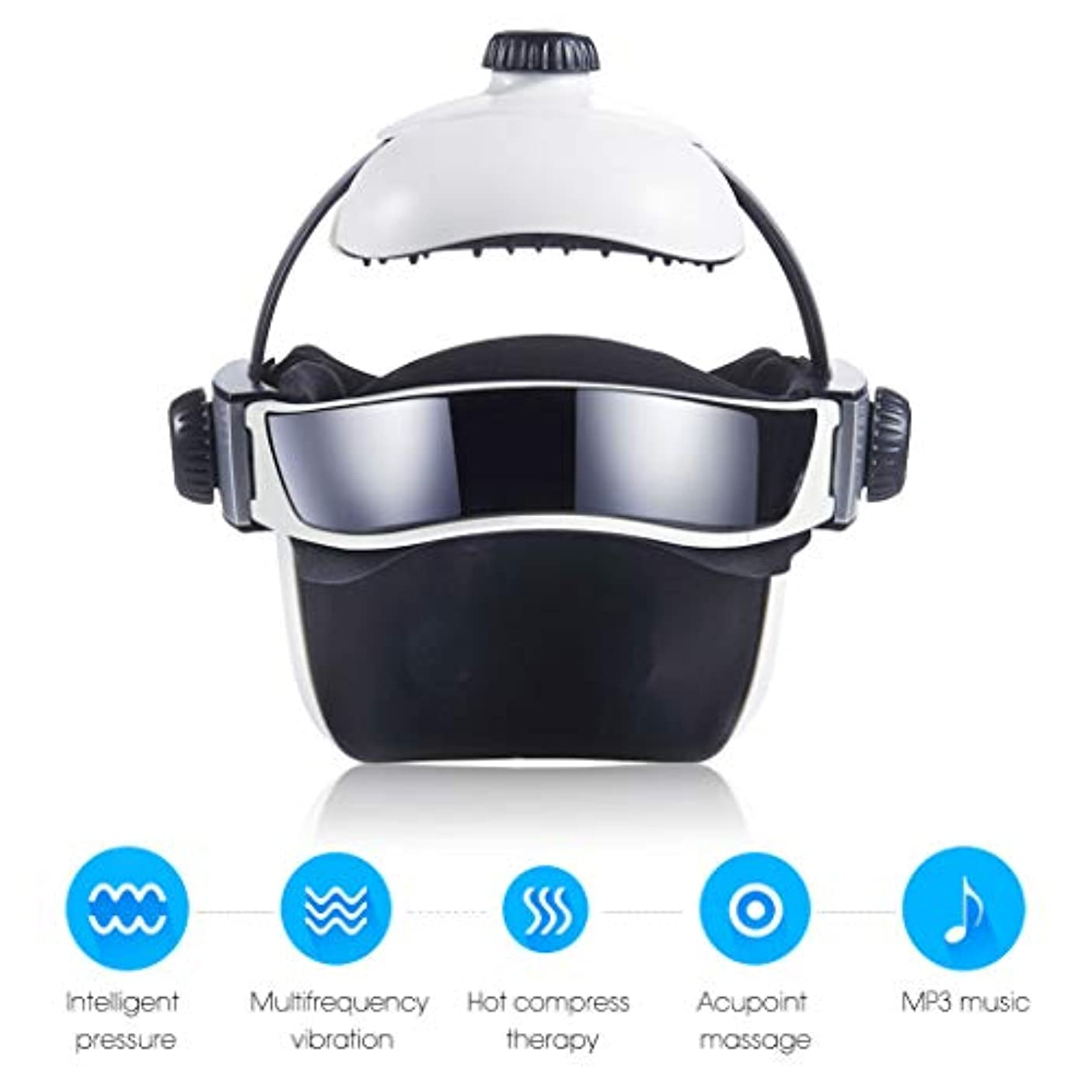 未使用弓ダーリン熱空気圧縮振動フィンガープレスマッサージ、目、首マッサージ音楽なだめるリラックスヘルメットタイプの電動ヘッド