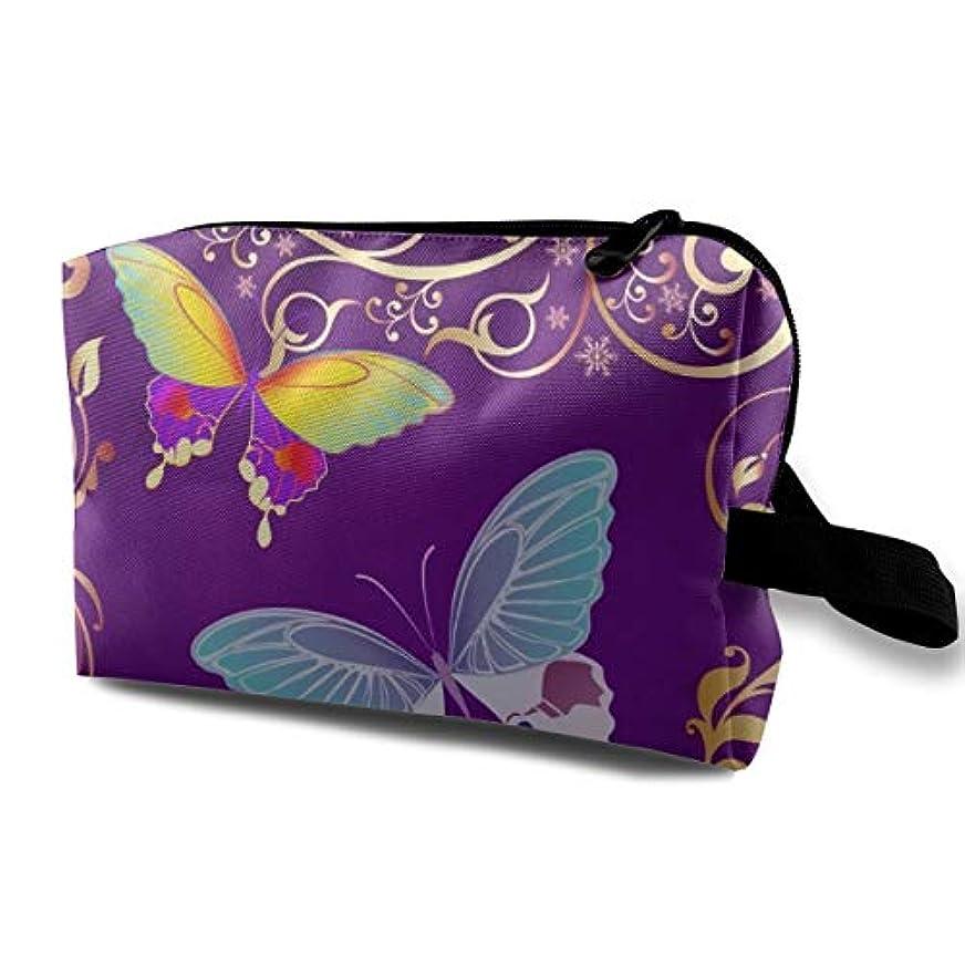 無秩序うそつきインフレーションPurple Butterfly 収納ポーチ 化粧ポーチ 大容量 軽量 耐久性 ハンドル付持ち運び便利。入れ 自宅?出張?旅行?アウトドア撮影などに対応。メンズ レディース トラベルグッズ