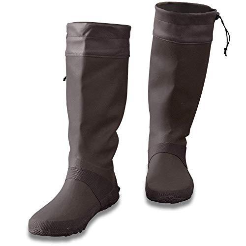 [フィールドア] レインブーツ 【26cm / ブラウン】 収納袋付 男女兼用 メンズ レディース キッズ 長靴 ドローコード コンパクト収納