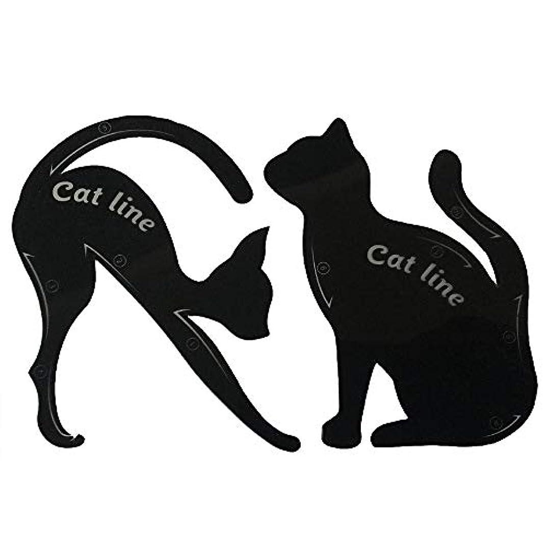 拮抗比較話すキャットアイカード 眉テンプレートカード 10種の画法 2セット アイシャドウカード 猫目シェイプ 化粧道具 メイクアップキット 整形ツール
