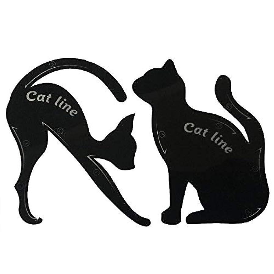 重要な役割を果たす、中心的な手段となる評価トランジスタキャットアイカード 眉テンプレートカード 10種の画法 2セット アイシャドウカード 猫目シェイプ 化粧道具 メイクアップキット 整形ツール