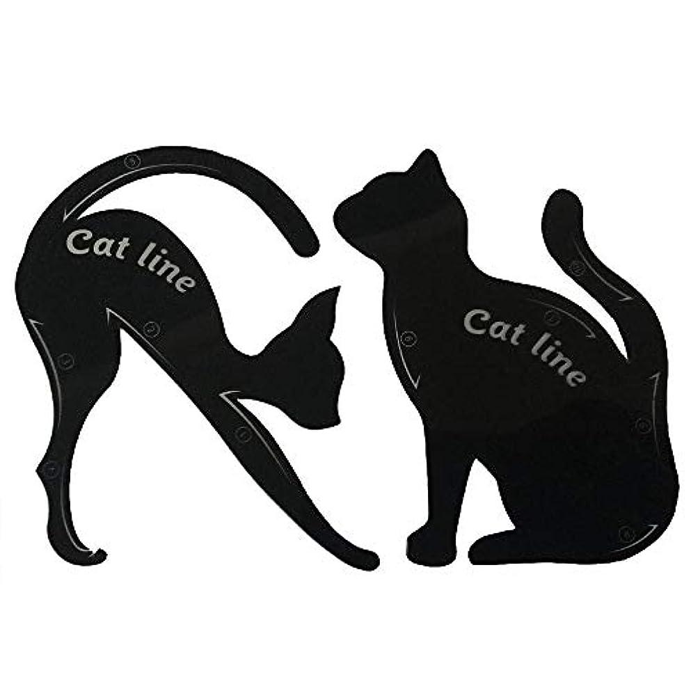 何でも鈍い解任キャットアイカード 眉テンプレートカード 10種の画法 2セット アイシャドウカード 猫目シェイプ 化粧道具 メイクアップキット 整形ツール