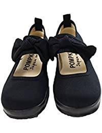 [ポプキンズ] POMPKINS リボンベルトシューズ クロ キッズジュニア靴 1411001