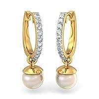 14K黄色ゴールド( Hallmarked ) 0.22カラットwhite-diamond ( IJ | SI )とオフホワイトパールフープイヤリング
