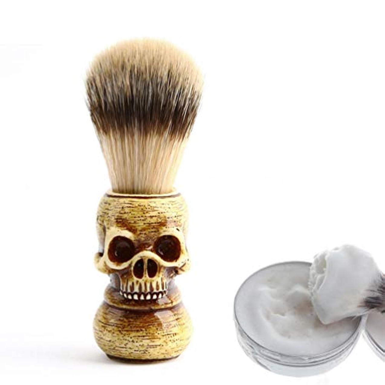 ランタン下品ゆるいVosarea 1ピーススカルヘッドひげブラシポータブルメンズ軽量アナグマヘアブラシ口ひげ毛剃りブラシグルーミングツール