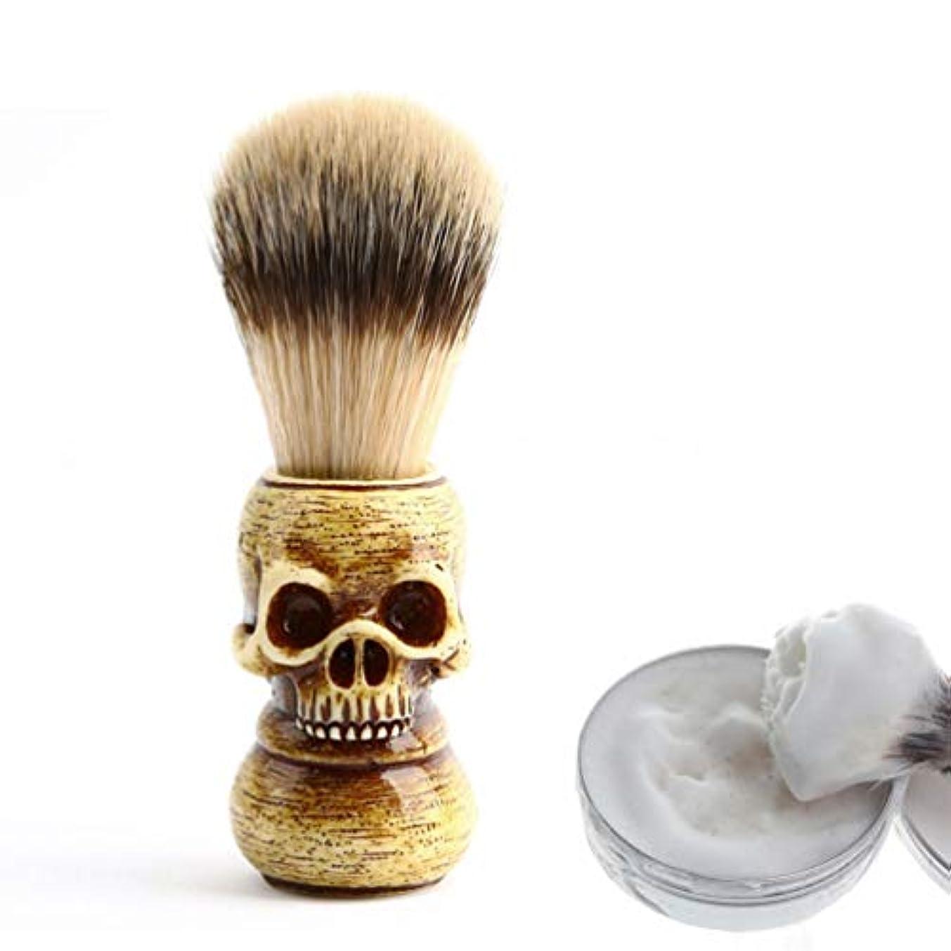写真集まる冒険Vosarea 1ピーススカルヘッドひげブラシポータブルメンズ軽量アナグマヘアブラシ口ひげ毛剃りブラシグルーミングツール