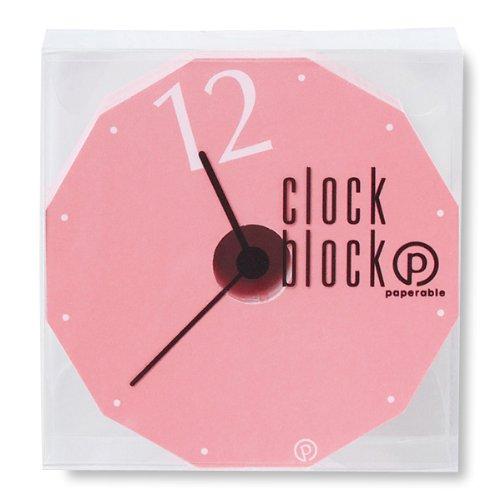 ペパラブル クロックブロック メモ ピンク YKP90-0836