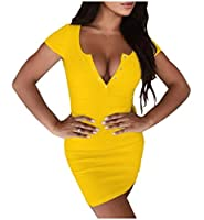 08d70715dc429 WE energy 女性Vネック立体セクシーフィット半袖ボタンダウンショートドレス Yellow S