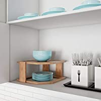 Lavish Home 竹製コーナーシェルフ キッチンや浴室のキャビネットカウンタートップ用 食器棚収納 オーガナイザー 天然木製 省スペースラック 83-105
