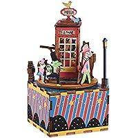 Muslady 木製ハンドクランク オルゴールDIYセット 漫画電話ブースデザイン クリスマス誕生日プレゼントミュージカル