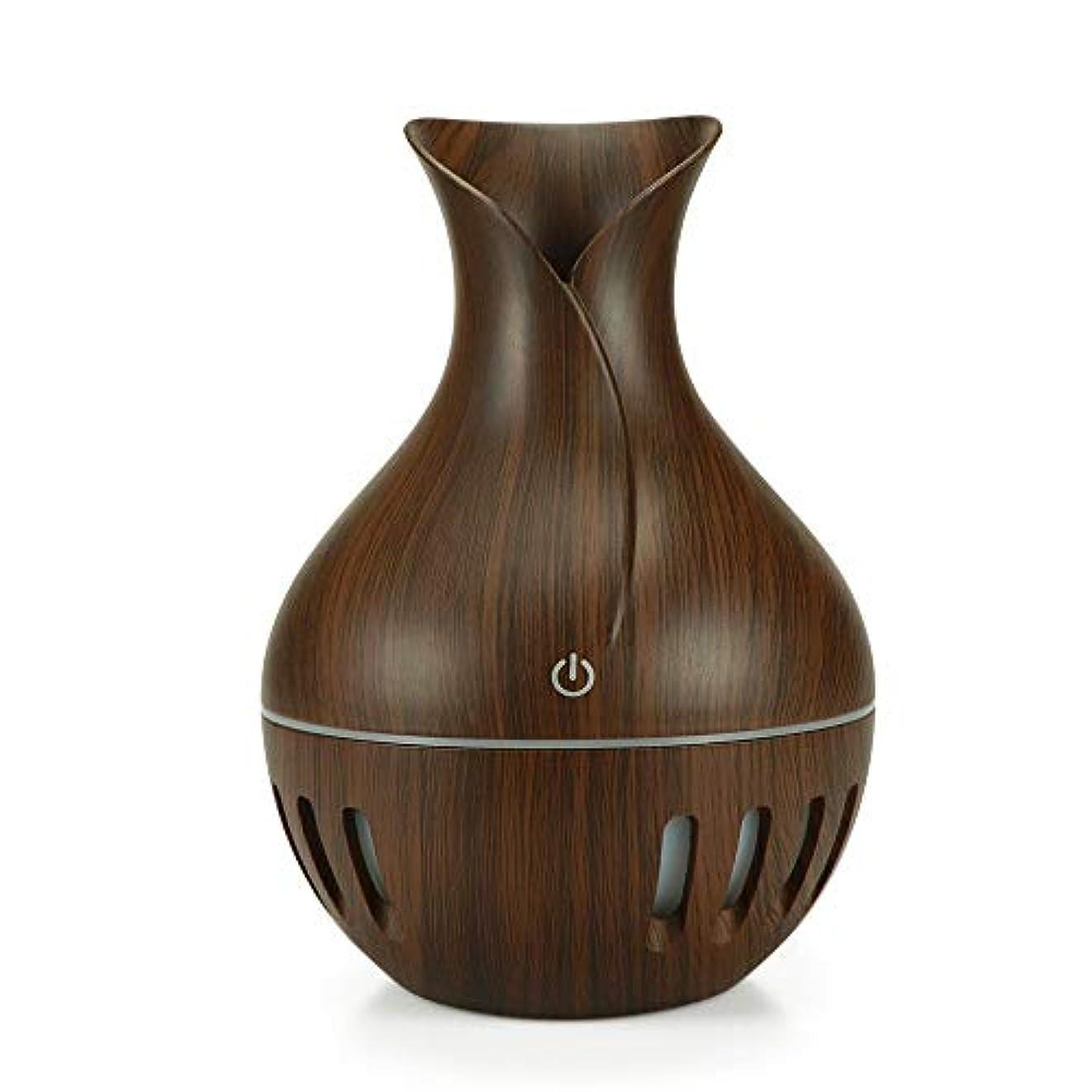 コマンドウェイター強打エッセンシャルオイルディフューザー木目は7色のLEDは、ホームオフィスのベッドルームベビールームのために変更してミスト加湿器をクール130mlの (Color : Deep wood grain, Size : 10.2...