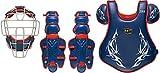 ゼット(ZETT) 軟式野球 キャッチャー用防具 3点セットプロステイタス プロモデル ネイビー×レッド(2964) 日本製 専用ケース付き BL3020