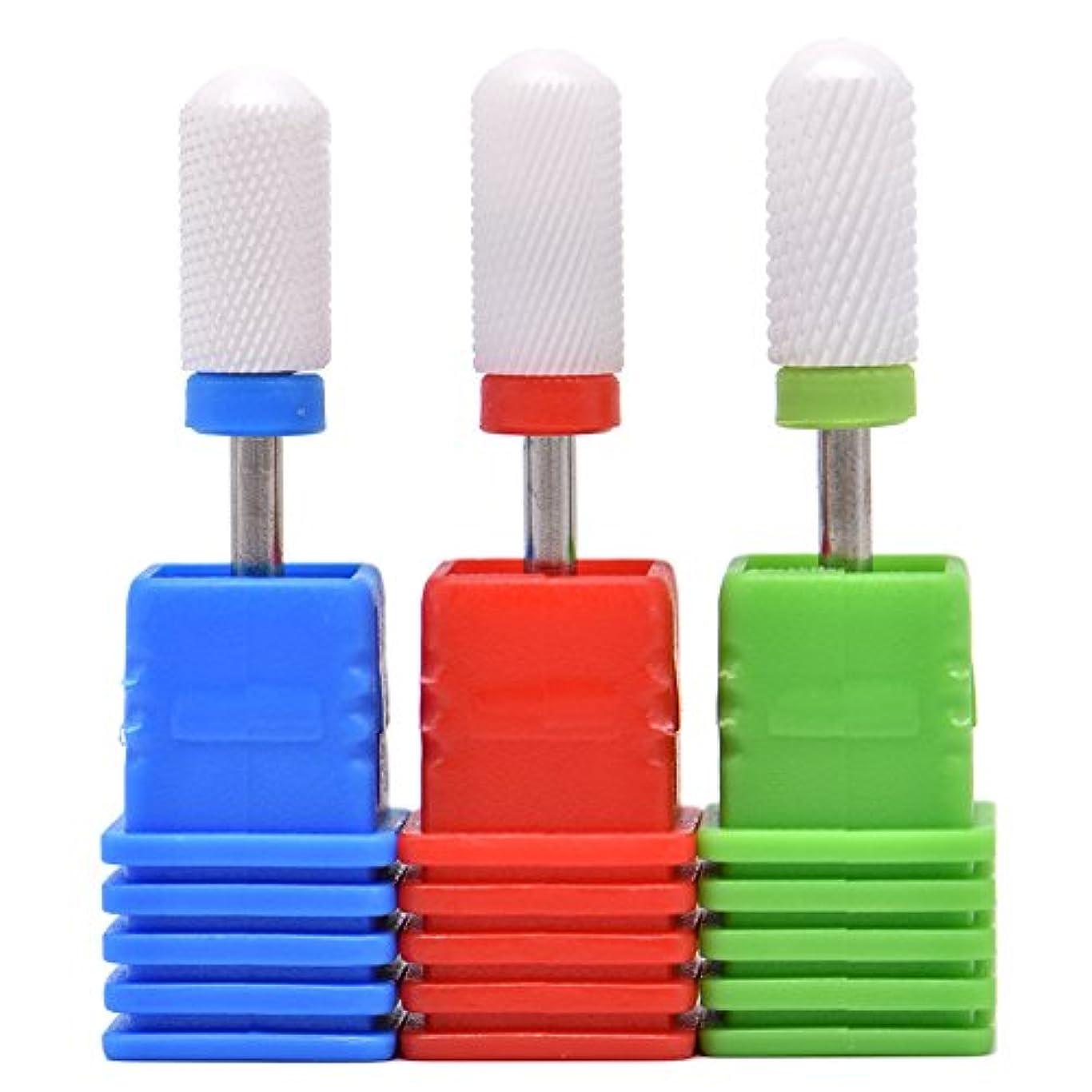 現象換気加速するOral Dentistry ネイルアート ドリルビット 丸い 研磨ヘッド ネイル グラインド ヘッド 爪 磨き 研磨 研削 セラミック 全3色 (レッドF(微研削)+グリーンC(粗研削)+ブルーM(中仕上げ))