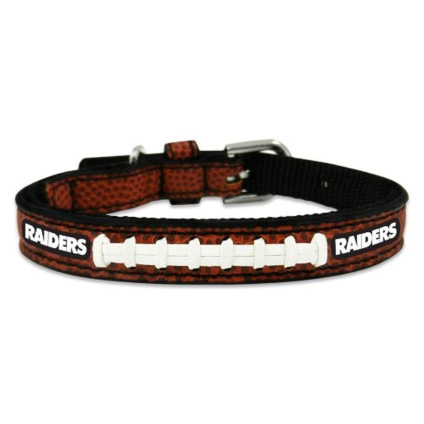 庭園乱暴な黒くするOakland Raiders Classic Leather Toy Football Collar