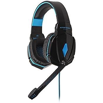 HAMSWAN ステレオ ゲーミングヘッドセット 重低音 ノイズキャンセル LED付き マイク音量調節 主にPC対応 (ブラック+ ブルー)
