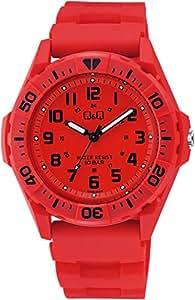 [シチズン キューアンドキュー]CITIZEN Q&Q 腕時計 アナログ スポーツ 10気圧防水 ウレタンベルト レッド VS34-001