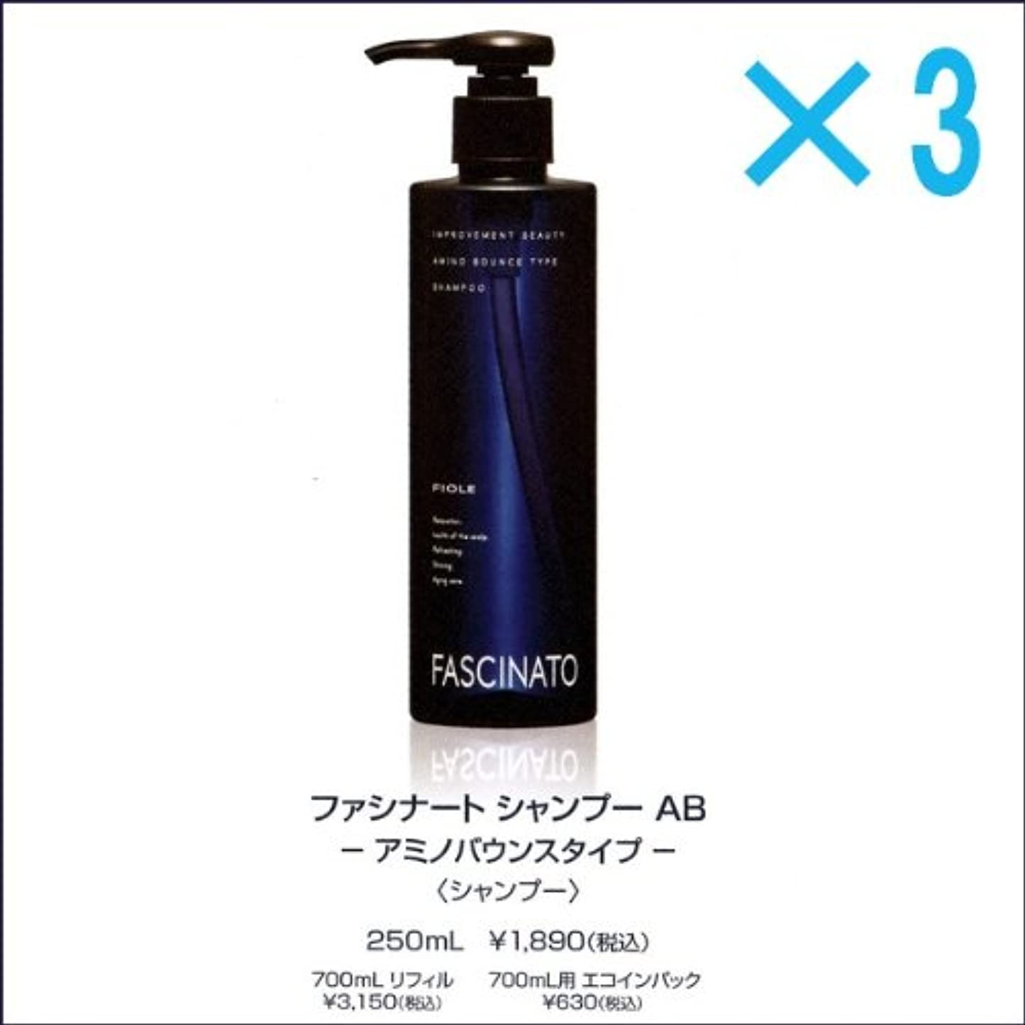 先祖酸素疑わしい【X3個セット】 フィヨーレ ファシナート シャンプー AB 250ml アミノバウンスタイプ FIOLE