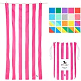 Dock & Bay Sand Proof Beach Towels Portable - Extra Large XL 78x35, Large 63x31 - Mint Green Striped Design Travel Towel