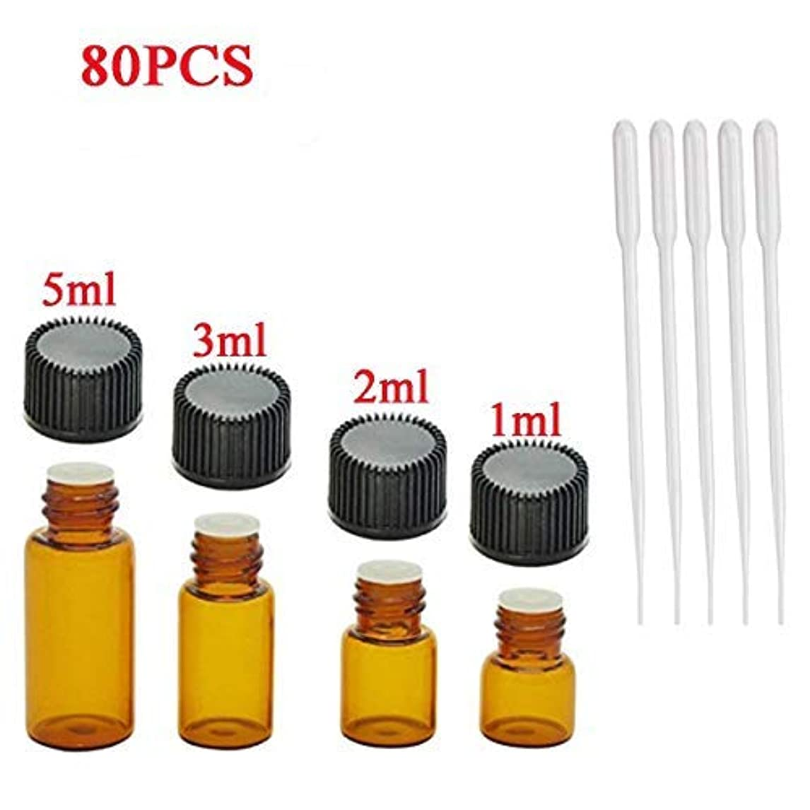 ティーム欲望高さCsdtylh 80pcs Essential Oils Bottles 5pcs Plastic Transfer Pipette, Doubletwo Amber Glass Vials Bottles 1ml 2ml...