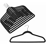 Velvet Coat Hangers - Velvet Suit Hangers (50-pack) Non-Slip Space Saving Chrome Metal Hook Strong and Durable Clothes Hanger