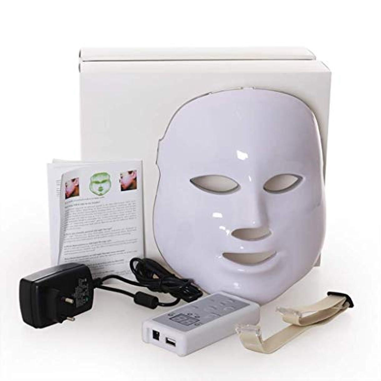 クレジット履歴書サワーフェイシャルビューティーインストルメント、7色LED光線療法フェイシャルスキンマスク、しわ、ニキビ、シミ、肌の若返りコラーゲン、アンチエイジングビューティーマスクを減らす