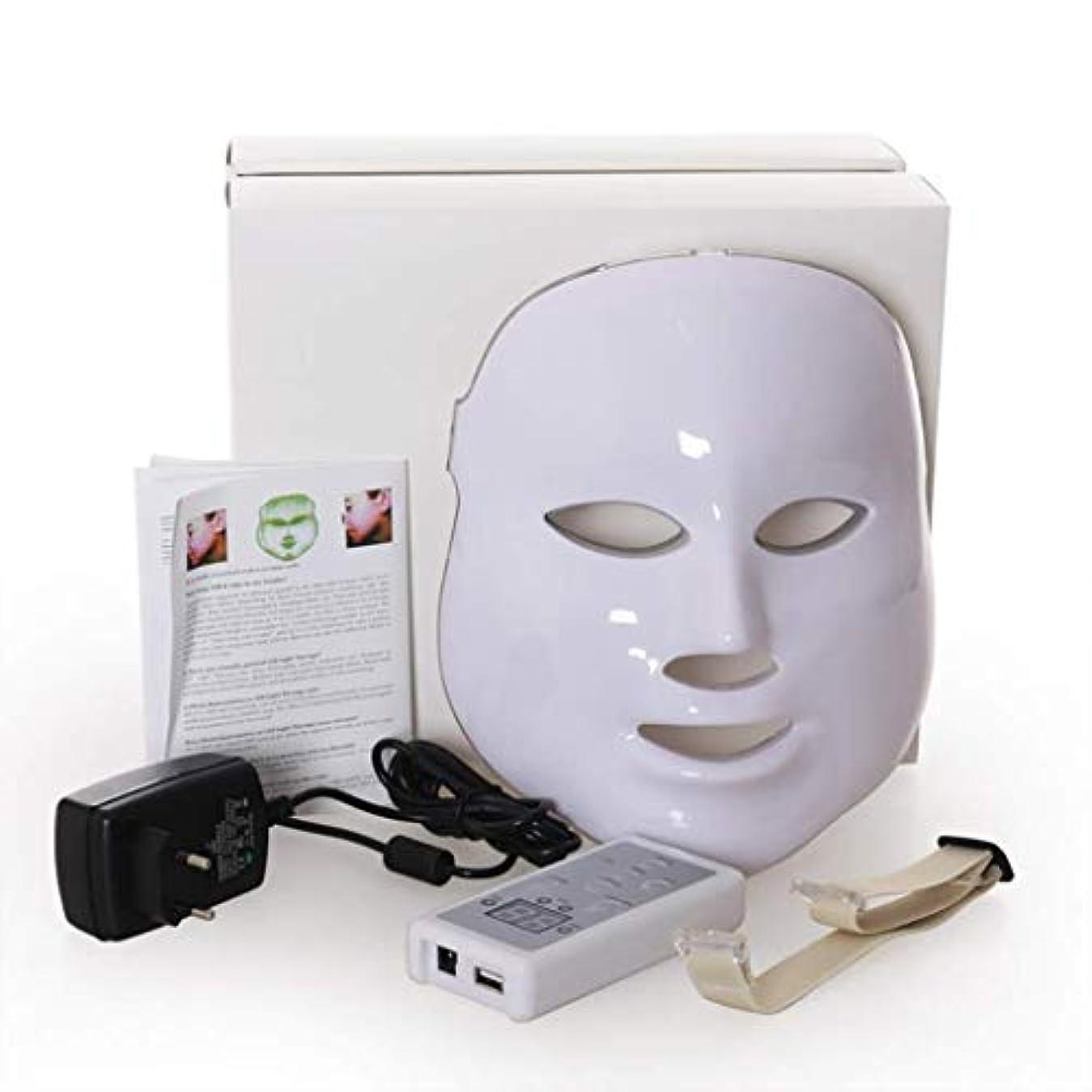 くつろぎどこにもソーシャルフェイシャルビューティーインストルメント、7色LED光線療法フェイシャルスキンマスク、しわ、ニキビ、シミ、肌の若返りコラーゲン、アンチエイジングビューティーマスクを減らす