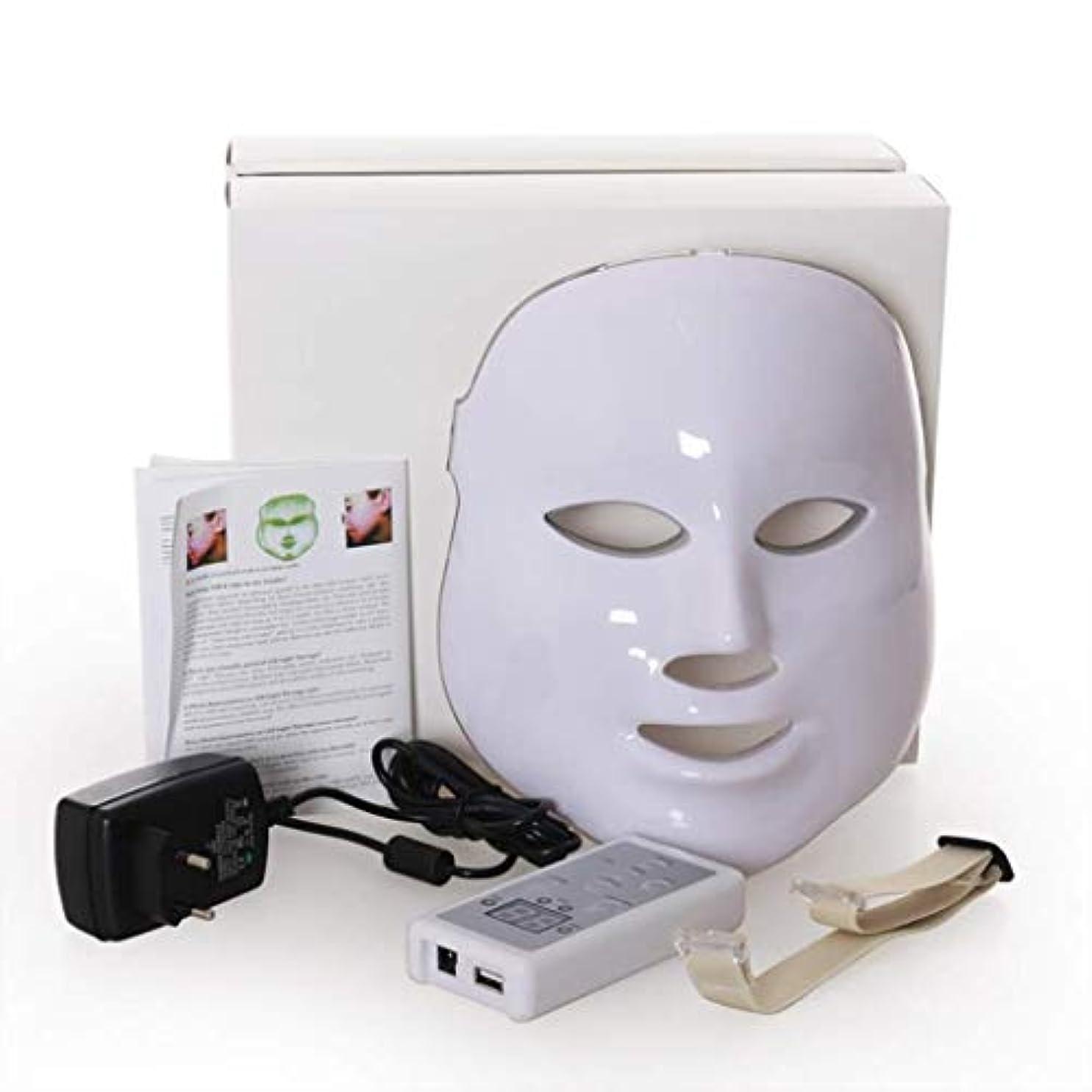 化学者おんどり軽蔑するフェイシャルビューティーインストルメント、7色LED光線療法フェイシャルスキンマスク、しわ、ニキビ、シミ、肌の若返りコラーゲン、アンチエイジングビューティーマスクを減らす