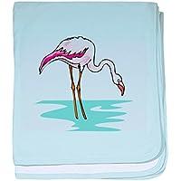 CafePress – Flamingo – スーパーソフトベビー毛布、新生児おくるみ ブルー 067146099125CD2
