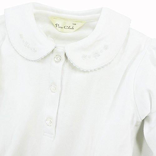 ASHBERRY (アッシュベリー) ニットブラウス(白ブラウス)長袖丸襟花刺繍[シンプル]綿100%/フォーマル/女の子/入園/卒園/入学/卒業式/お受験/ 110cm(743010)