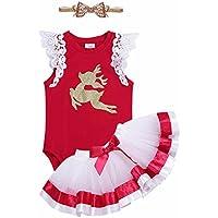 iiniim Baby Girls' Toddler Christmas Deer Outfit Romper, Tutu Skirt Headband Set