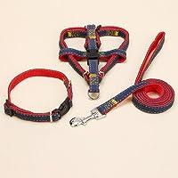犬の胸後ろ、カウボーイの胸のハーネスの犬のトラクションの襟セット犬のロープのペット用品 (Color : Red, Size : M)
