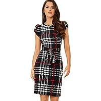 SheIn Women's Plaid Cap Short Sleeve Crewneck Tie Waist Bodycon Short Dress