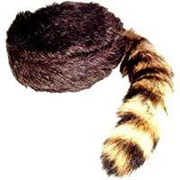 (Medium) - Davy Crockett or Daniel Boon Style Coon Skin Hat with Real Tail