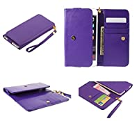 DFV mobile - Cover Premium Crazy Horse PU Leather Wallet Case with Card Slots for => BQ Aquaris M4.5 > Purple