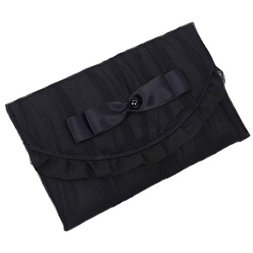 [GerberaDaisy] 袱紗 おしゃれふくさ 結婚式 弔辞両用 専用の箱付き 2色展開(ピンク×ブラック)(ブラック)