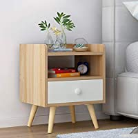 IAIZI 引き出し式ナイトスタンド付ウッドベッドサイドテーブルベッドルーム収納キャビネットベッドサイドキャビネットロッカーベッドスモールキャビネット (Color : Wood)