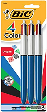 BIC 4 Colours Original Retractable Ball Pens Medium Point (1.0 mm) - Pack of 3