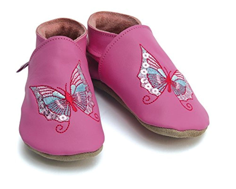 【英国製カーフレザーベビーシューズ】《蝶/ピンク butterfly/pink XLサイズ》